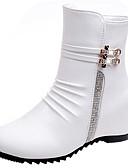 billige Bluser-Dame Fashion Boots PU Høst Støvler Flat hæl Rund Tå Støvletter Hvit / Svart