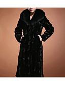 cheap Women's Fur & Faux Fur Coats-Women's Fur Coat - Solid Colored V Neck