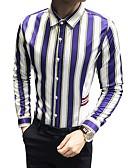 cheap Men's Shirts-Men's Work Slim Shirt - Striped / Color Block Classic Collar / Long Sleeve