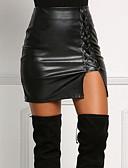 abordables Mini-jupe-Femme Simili Cuir Mini Moulante Jupes - Couleur Pleine