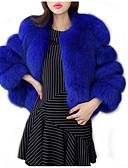 cheap Women's Fur & Faux Fur Coats-Women's Daily Basic Short Fur Coat, Solid Colored Collarless Long Sleeve Polyester Purple / Light gray / Royal Blue XXL / XXXL / 4XL