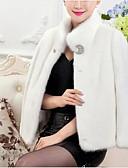 abordables Chalecos-Mujer Sofisticado Abrigo de Piel Escote Chino - Un Color De Gran Tamaño