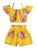 povoljno Kompletići za djevojčice-Djeca Djevojčice Suncem Cvjetni print Bez rukávů Komplet odjeće