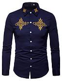 abordables Camisas de Hombre-Hombre Negocios / Vintage / Básico Trabajo Bordado Camisa Delgado Un Color / Bloques Blanco L / Manga Larga