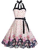 tanie Bluzka-Damskie Vintage / Elegancja Swing Sukienka - Kwiaty, Nadruk Do kolan