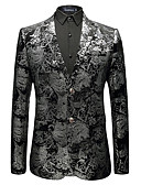 abordables Americanas y Trajes de Hombre-Hombre Informal de negocios Blazer Solapa de Pico-Floral / Manga Larga / Trabajo / Tallas Grandes
