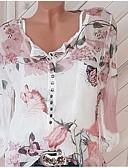 abordables Vestidos de Dama de Honor-Mujer Blusa, Escote en Pico Corte Ancho Floral
