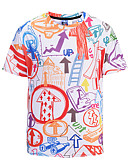 ieftine Maieu & Tricouri Bărbați-Bărbați Rotund Tricou Bumbac Mată / Geometric / Manșon scurt