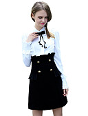 cheap Women's Coats & Trench Coats-Women's Going out Sheath Dress - Solid Colored Shirt Collar Spring Black M L XL