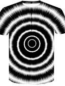 abordables Camisetas y Tops de Hombre-Hombre Básico / Chic de Calle Discoteca Estampado Camiseta, Escote Redondo Bloques / 3D / Estampados Blanco y Negro Blanco XXL / Manga Corta / Verano