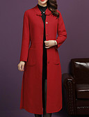 cheap Evening Dresses-Women's Going out / Work Maxi Jacket, Solid Colored Round Neck Long Sleeve Polyester Black / Red / Purple XXL / XXXL / XXXXL