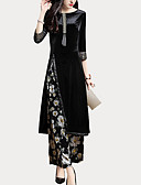 baratos Vestidos Casuais-Mulheres Para Noite Básico / Sofisticado Delgado Longo Conjunto - Estampado / Perna larga, Floral Calça / Primavera / Outono