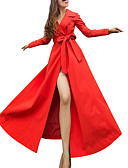 cheap Women's Wool & Wool Blend Coats-Women's Daily Street chic Maxi Coat, Contemporary Notch Lapel Long Sleeve Polyester Red L / XL / XXL