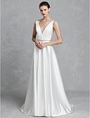 olcso Menyasszonyi ruhák-A-vonalú V-alakú Udvari uszály Szatén Made-to-measure esküvői ruhák val vel Kristály melltű által LAN TING BRIDE® / Gyönyörű fekete