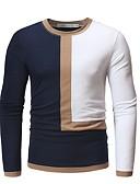 billige T-shirts og undertrøjer til herrer-Rund hals Herre - Farveblok Bomuld Basale T-shirt Hvid XL / Langærmet