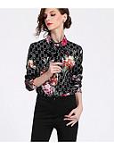 abordables Chemises Femme-Chemise Femme, Couleur Pleine / Géométrique Col de Chemise Noir