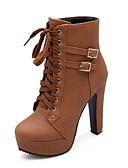お買い得  メンズ・ベルト-女性用 Fashion Boots PUレザー 秋冬 カジュアル ブーツ プラットフォーム ラウンドトウ ミドルブーツ ブラック / ベージュ / Brown / パーティー