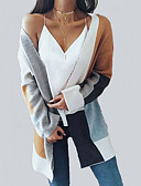 billige Bodysuit-Dame Weekend Gade Farveblok Langærmet Normal Cardigan, V-hals Kamel L / XL / XXL