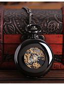 cheap Quartz Watches-Men's Pocket Watch Automatic self-winding Black Hollow Engraving Casual Watch Skull Analog Skull Fashion - Black