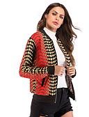 זול Bomber Jackets-קולור בלוק בסיסי ג'קט - בגדי ריקוד נשים