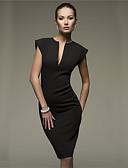 cheap Women's Fur & Faux Fur Coats-Women's Work Cotton Slim Bodycon Dress - Solid Colored Deep V