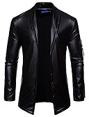 cheap Men's Jackets & Coats-Men's Daily Winter / Fall & Winter Plus Size Regular Leather Jacket, Solid Colored Straight Collar Long Sleeve PU Gold / Black / Silver XL / XXL / XXXL