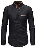 זול חולצות לגברים-קולור בלוק כותנה, חולצה - בגדי ריקוד גברים / שרוול ארוך
