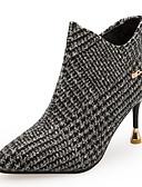 billige Kjoler med trykk-Dame Fashion Boots PU Høst vinter minimalisme Støvler Stiletthæl Spisstå Ankelstøvler Grå / Kakifarget / Fest / aften
