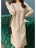 abordables Vestidos de Mujeres-Mujer Básico Punto Vestido Un Color Hasta la Rodilla