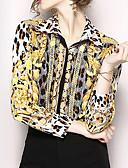 ieftine Costum Damă Două Bucăți-Pentru femei Guler Cămașă Cămașă Leopard