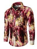 levne Pánské košile-Pánské - Abstraktní Základní Košile Bavlna Vodní modrá XL / Dlouhý rukáv