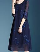 tanie Print Dresses-Damskie Elegancja Linia A Sukienka - Solidne kolory Midi