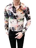 levne Pánské košile-Pánské - Barevné bloky Košile Klasický límeček Štíhlý Černá XL / Dlouhý rukáv / Podzim