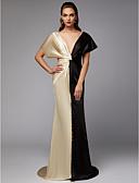 preiswerte Abendkleider-Eng anliegend Tiefer Ausschnitt Pinsel Schleppe Satin Muster / Promi-Stil Formeller Abend Kleid mit Drapiert durch TS Couture®