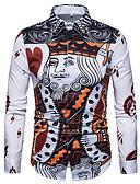 ieftine Maieu & Tricouri Bărbați-Bărbați Cămașă Bumbac Activ / Șic Stradă - Desene Animate / Manșon Lung / Zvelt