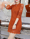 cheap Women's Dresses-Women's Basic A Line Dress - Solid Colored Lace / Patchwork