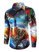 billige T-shirt-Herre - Farveblok Bomuld Basale Skjorte Blå XL / Langærmet