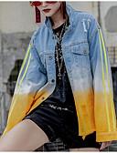 ieftine Tricou-Pentru femei Ieșire Regular Jachetă, Bloc Culoare Răsfrânt Manșon Lung Poliester Albastru piscină M / L / XL