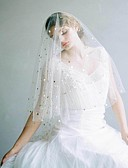 cheap Wedding Veils-One-tier Vintage Style / Classic Style Wedding Veil Fingertip Veils with Solid / Paillette Tulle
