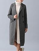 olcso Női hosszú kabátok és parkák-Női Napi Hosszú Kabát, Egyszínű Térfogatcsökkenés Hosszú ujj Gyapjú Sötétszürke / Világos szürke M / L / XL