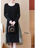 Χαμηλού Κόστους Φορέματα για τη Μητέρα της Νύφης-Γυναικεία Βασικό Μεγάλα Μεγέθη Βαμβάκι Λεπτό Παντελόνι - Μονόχρωμο / Συνδυασμός Χρωμάτων Patchwork Μαύρο / Sexy
