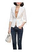 cheap Women's Blazers-Women's Daily Regular Coat, Solid Colored Shirt Collar Long Sleeve Polyester White / Black / Royal Blue XL / XXL / XXXL