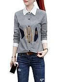 billige Topper til damer-Bomull Løstsittende Skjortekrage Store størrelser Skjorte Dame - Stripet / Fargeblokk