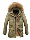 cheap Men's Downs & Parkas-Men's Going out Solid Colored Regular Padded, Polyester Long Sleeve Hooded Brown / Black / Khaki XXL / XXXL / XXXXL