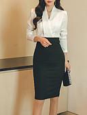 baratos Vestidos para Trabalhar-Mulheres Básico Algodão Delgado Calças - Estampa Colorida Branco / Decote V / Trabalho