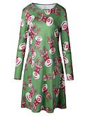 cheap Print Dresses-Women's Plus Size Christmas / Daily Basic / Street chic Mini Slim Sheath Dress - Animal Deer Spring Cotton Green Red XXXL 4XL XXXXXL