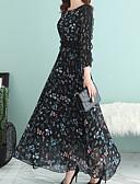 cheap Maxi Dresses-Women's Plus Size Party / Daily Basic Maxi Swing Dress - Solid Colored / Geometric High Waist Black L XL XXL / Sexy
