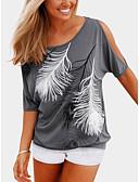 tanie T-shirt-T-shirt Damskie Nadruk Bawełna / Lato / Seksowny