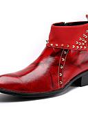 olcso Férfi pólók és pulóverek-Férfi Fashion Boots Nappa Leather Tél Brit Csizmák Melegen tartani Magas szárú csizmák Fekete / Sötétvörös / Party és Estélyi