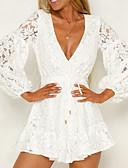 billige Robes & Sleepwear-Dame Elegant Tynn Bukser - Ensfarget Blonde Hvit / Dyp V / Lanterne Erme / Sexy